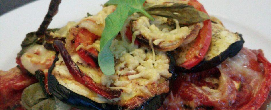 boekweitpasta met aubergine en courgette